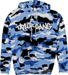Taylor Gang Logo Print Blue Camo Hoodie