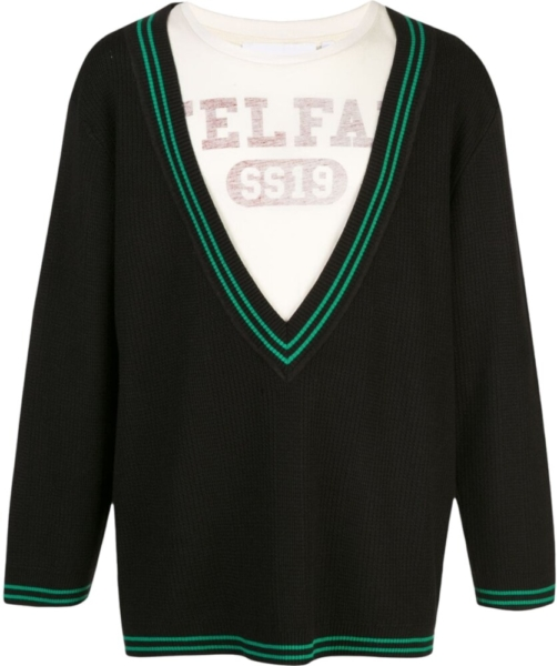Telfar Deep V Black Knit Sweater