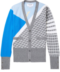 Thom Brown Grey With White Geometric Rpint Button Up Cardigan Worn By Gucci Mane