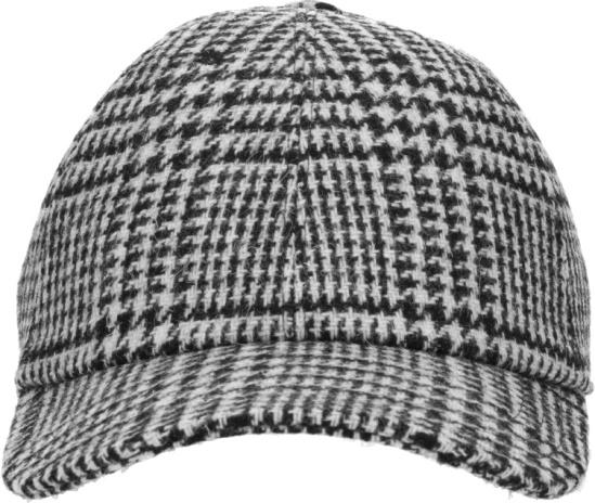 Thom Browne Black And White Houndstooth Wool Baseball Cap