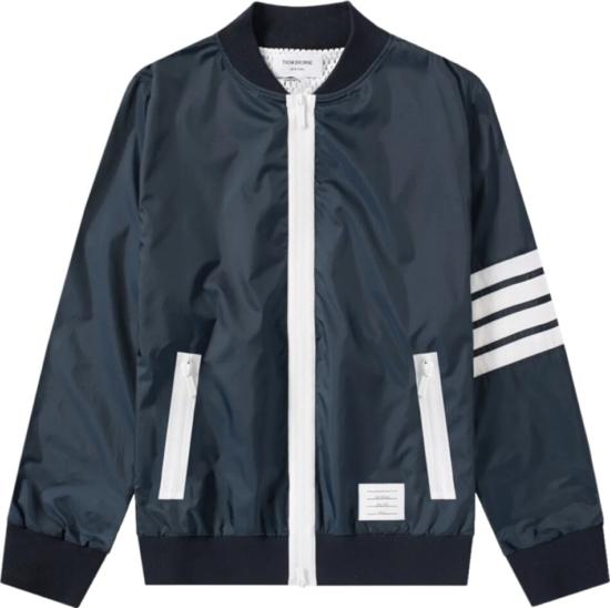 Thom Browne Contrast Trim Navy Bomber Jacket