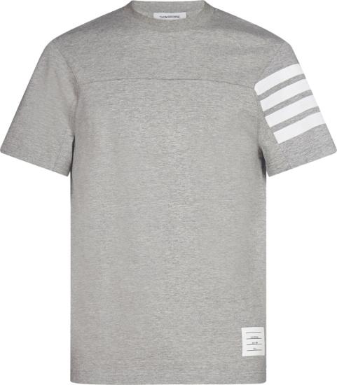 Thom Browne Grey 4 Bar Sleeve Logo T Shirt
