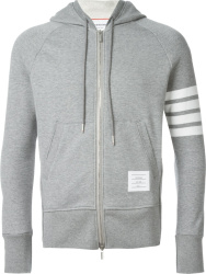 Thom Browne Grey 4 Bar Zip Hoodie