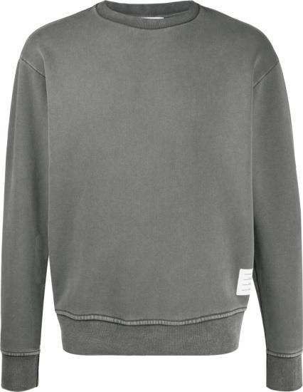 Thom Browne Grey Garment Dyed Sweatshirt
