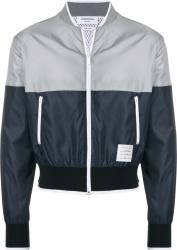 Thom Browne Grey Navy Split Bomer Jacket