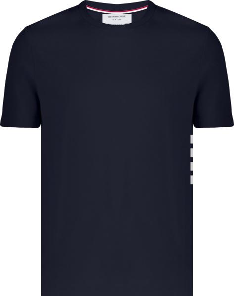 Thom Browne Navy 4 Side Bar Logo Pique Cotton T Shirt