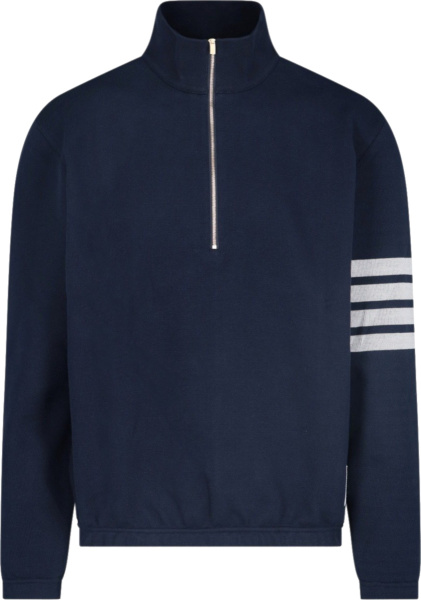 Thom Browne Navy And Grey 4 Bar Half Zip Sweater