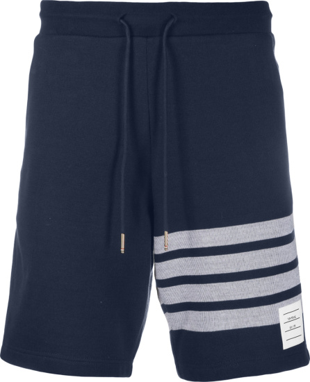 Thom Browne Navy And Grey 4 Bar Sweatshorts