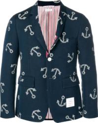 Thom Browne Navy Blazer With Anchor Print