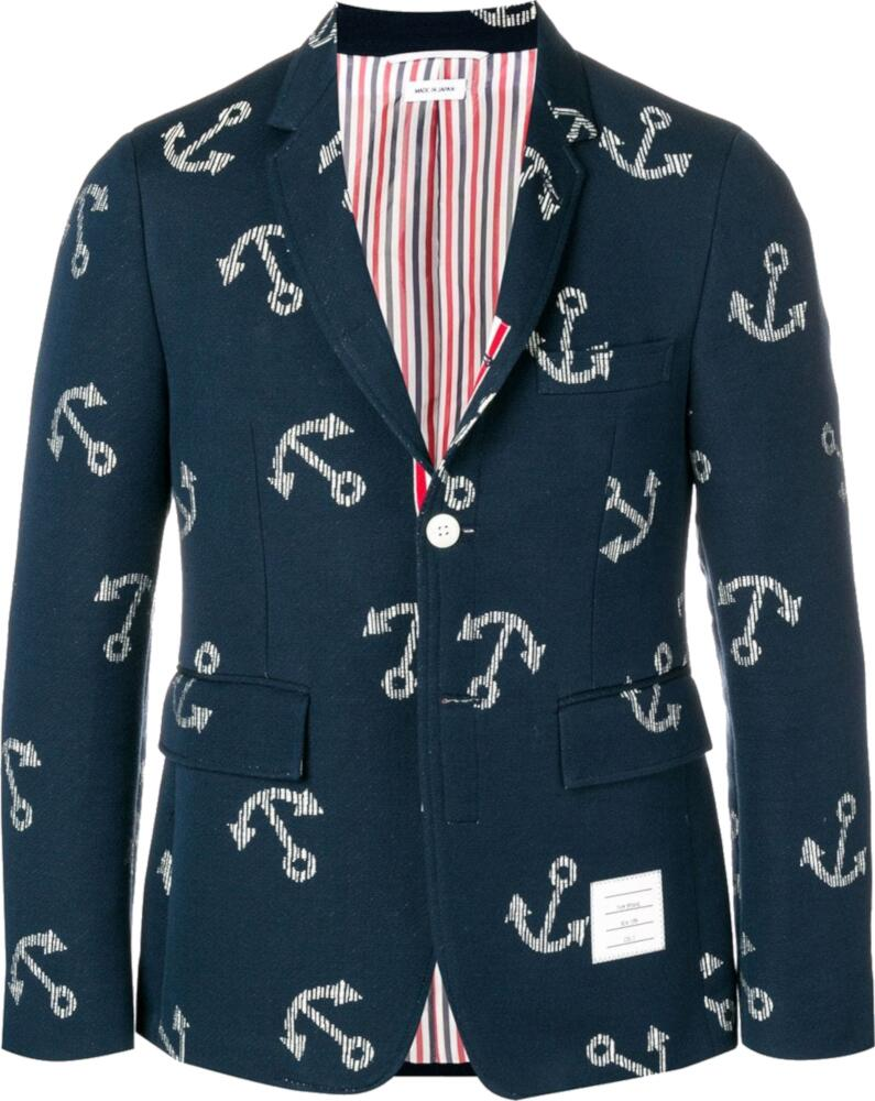 Thom Browne Navy Blazer With Anchor Print