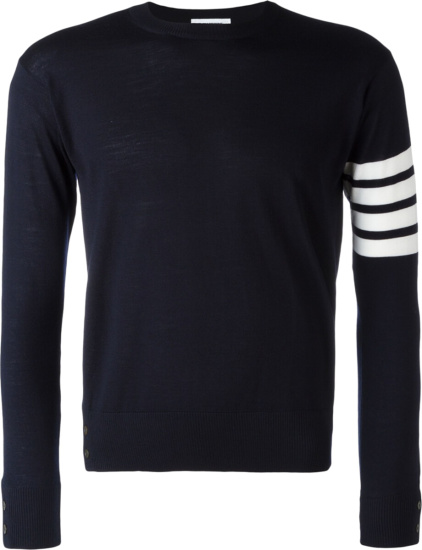Thom Browne Navy Four Bar Sweater