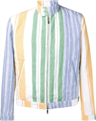 Thom Browne Pastel Stripe White Linen Jacket