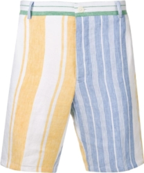 Thom Browne Pastel Stripe White Linen Shorts