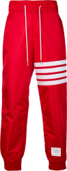Thom Browne Red 4 Bar Trackpants