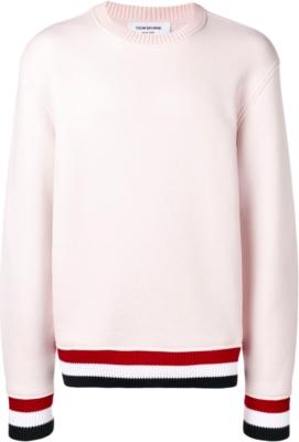Thom Browne Striped Trim Ivory Sweater