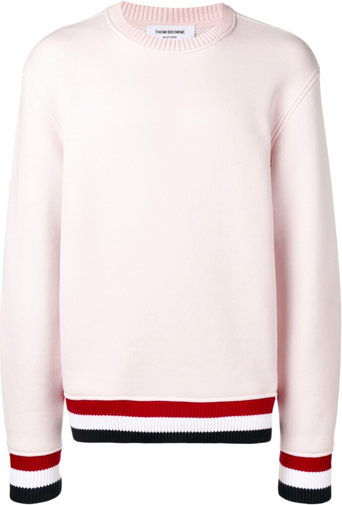 Thom Browne Striped Trim Ivory Sweater