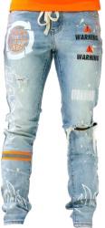 Hazard Print Distressed Jeans