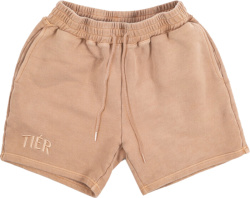 Tier Nyc Beige Logo Embroidered Shorts