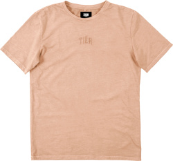 Tier Nyc Beige Logo Embroidered T Shirt