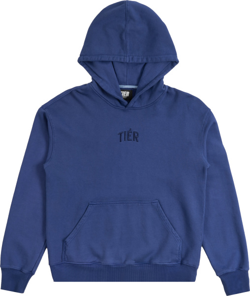 Tier Nyc Blue Logo Embroidered Hoodie