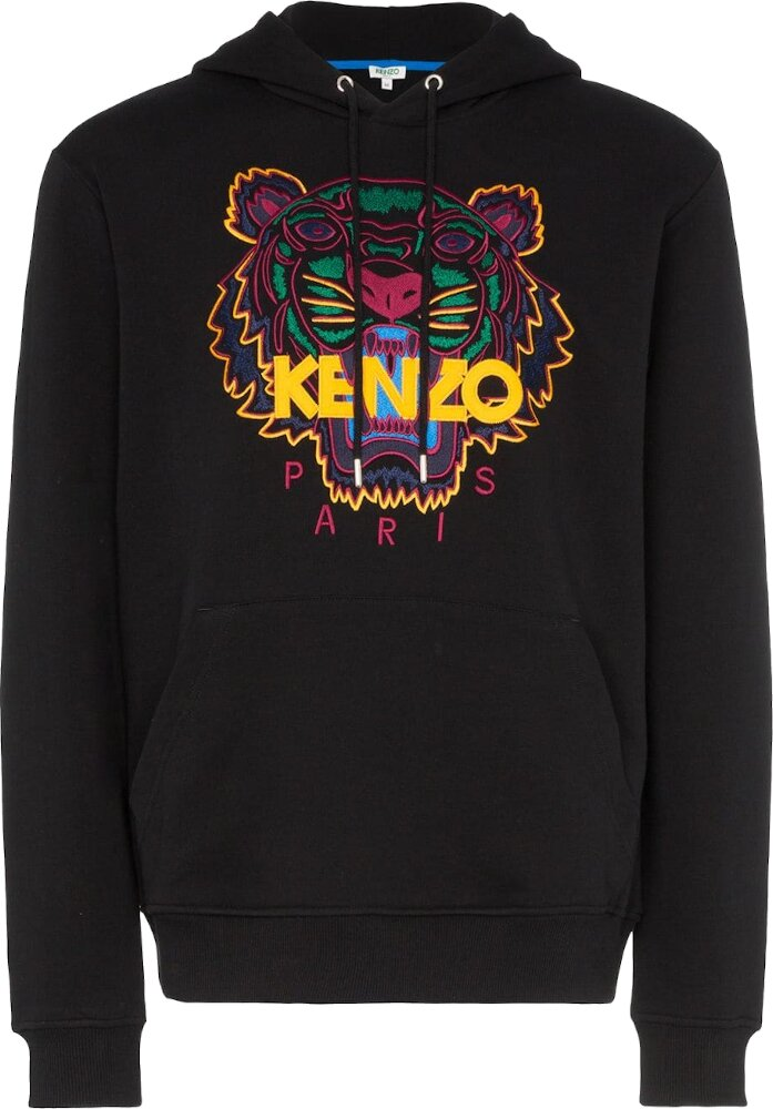 Tiger Embroidered Black Hoodie