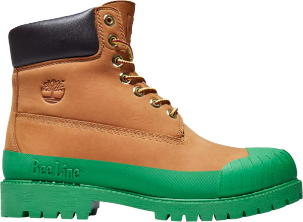 Timberland X Beeline 6in Premium Wheat Boots With Lime Green Rubber Soles