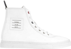 Tom Browne White High Top Paper Label Sneakers