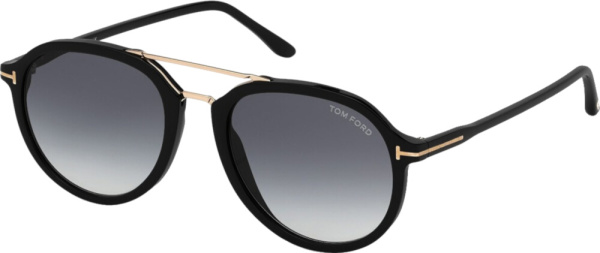 Tom Ford Black Double Brow Round Sunglasses
