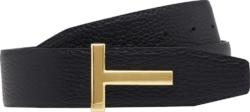 Tom Ford T Buckle Black Leather Belt