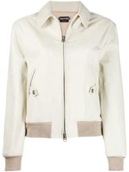 Tom Ford White Leather Bomber Jacket