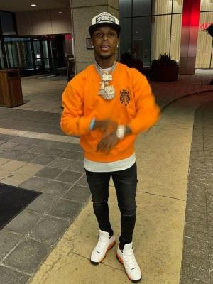 Toosii Wearing A Chrome Hearts Trucker Hat And Orange Sweatshirt With Jordan 11s