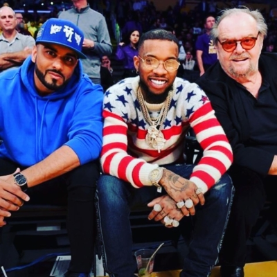 Tory Lanez Courtside With Jack Nicklas In Ysl And Balmain