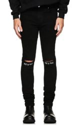 'Rest In Peace' Print Black Jeans