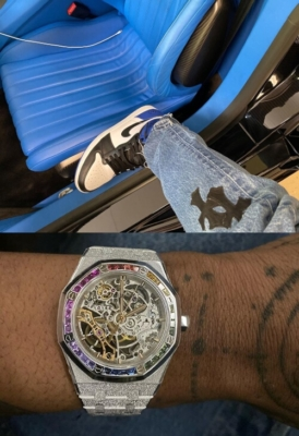 Travis Scott Wearing Jordan 1 X Fragment Sneakers With Chrome Hearts Jeans And Audemars Piguet Royal Oak Skeleton Rainbow