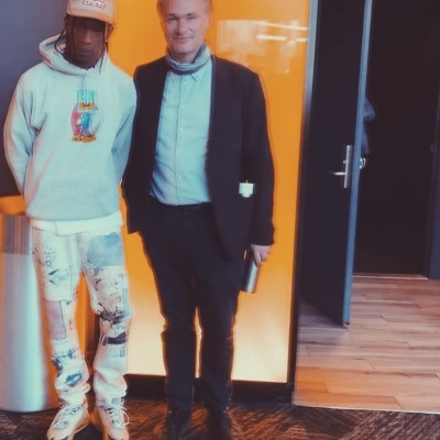 Travis Scott With Christopher Nolan In Kapital Jeans And Nike Air Max 270 Cactus Jacks