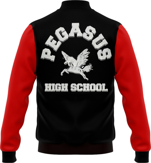 Trippie Redd Black Red Pegasus Varsity Jacket
