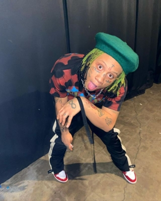 Trippie Redd Wearing A Vintage Nirvana T Shirt With Fear Of God Trackpants