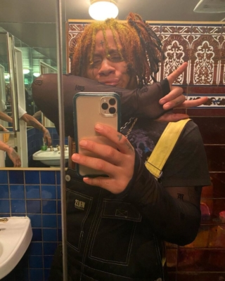 Trippie Redd Wearing Vfiles Ovealls The Cure T Shirt And Burberry Turtleneck