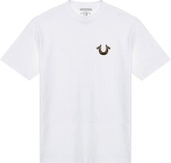 True Religion White And Gold Buddha T Shirt