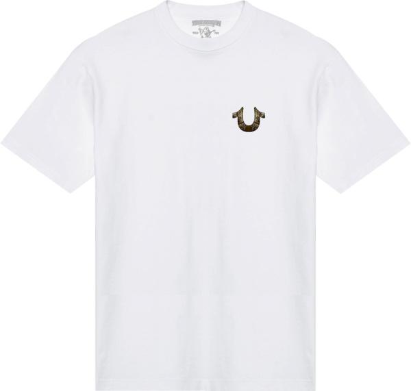 True Religion White And Gold Buddha T Shirt