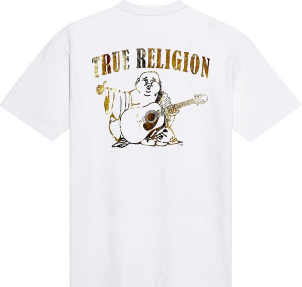 True Religion White And Metallic Gold Foil Buddha T Shirt