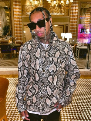 Tyga Wearing A Noon Goons Snakeskin Jacket With Off White Sunglasses