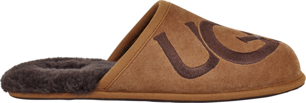 Ugg Brown Logo Embroidered Open Back Slippers