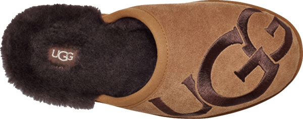 Ugg Brown Scuff Logo Slippers