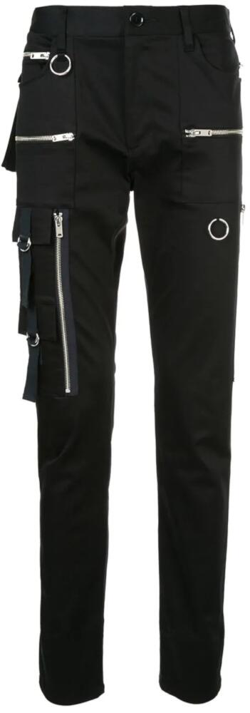 Undercover Black Cargo Pants With Allover Rings And Zippers