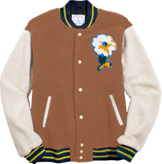 Urban Outfitters Brown And White Flower Sherpa Varsity Jacket