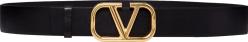 Valentino Black And Gold Tone Vlogo Belt