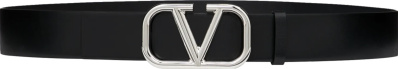 Valentino Black And Silver Tone Vlogo Buckle Belt