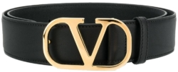 Valentino Black Leather Garavani Belt
