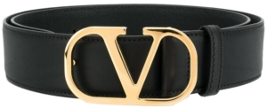 Gold-Tone Logo Buckle Black Leather Belt